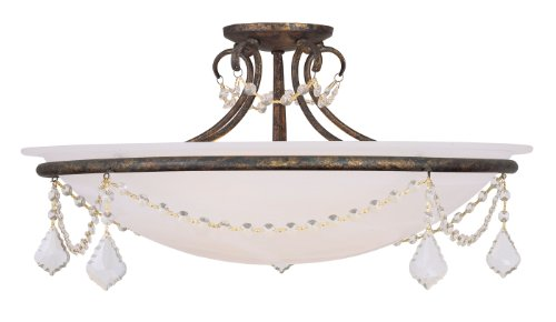 Livex Lighting 6526-71 Hand Applied Chesterfield/Pennington 4 Light Ceiling Mount, Venetian Golden Bronze (Bronze Finish Chesterfield)