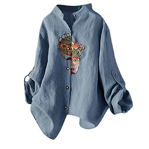 (Chinese Traditional Shirts Button Down Tops for Women Flexible Long-Sleeve Portrait-Embroideried Oriental Casual Blouses)