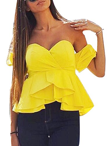 Yellow Ruffle Shirt Top (Glamaker Women's Sexy Off Shoulder Blouse Crop Tops Shirt with Ruffle Sleeves L 8/10)