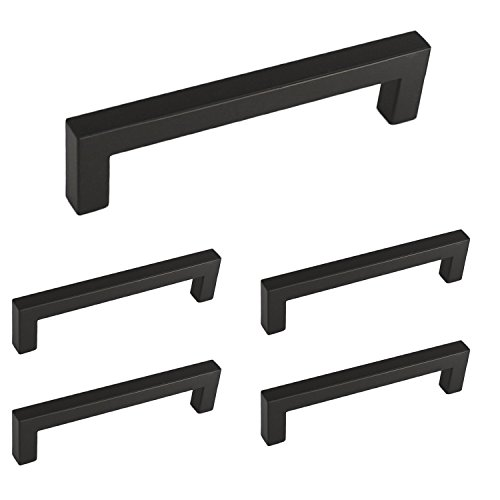 Square Bar Pull (Homdiy Flat Black Modern Cabinet Handle Pull Furniture Door Square Bar Knobs and Pull Handles - 5