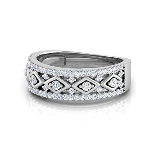 18K Or Blanc, 0,89carat Diamant Taille ronde (IJ | SI) en diamant