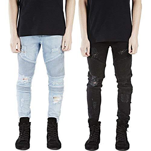 Aderenti Jeans Spiegazzato Pantaloni In Lavati Denim Da Blau Vintage Buco Strappati Uomo Huixin Con Moto Skinny P7qwCXwB