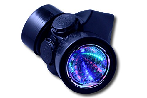 Cyber Rave Costumes (TrYptiX Men's LED Black Framed Steampunk Gas Mask (One Size, 3D RGB Lights W/ Dust Filters))