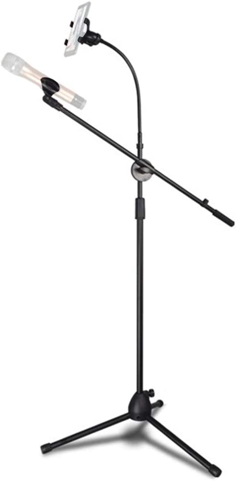 Microphone Stand Floor-Standing Mic Tripod Stand Height Angle Adjustable with Mic Clip and Phone Holder for Live Voice Stage Performance Speech