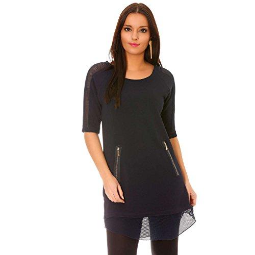 Miss Wear Line - Tunique marine à zip fantaisie et empiècements filet sur les manches et le bas du modèle