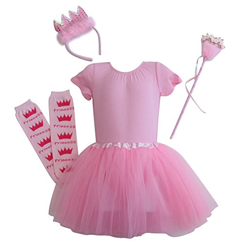 Ballerina Princess Birthday Tutu Gift Set with Crown and Wand (6T, (Pink Rose Ballerina Costumes)