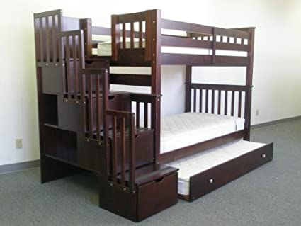 Incroyable Bedz King Tall Twin Over Twin Stairway Bunk Bed With Twin Trundle,  Cappuccino
