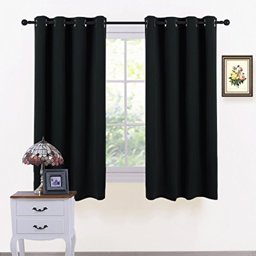 "PONY DANCE Blackout Curtain Panels - Home Decor Ring Top Solid Room Darkening Window Treatments Heavy-Duty Draperies Energy Saving for Bedroom Kitchen Living Room, 52"" x 54"", Black, 2 Pcs"
