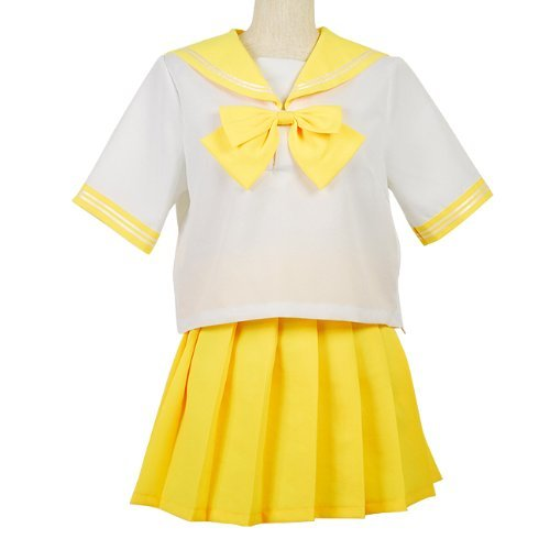 Sailor V Costume (Easy low-cost version barrier scalar colorful sailor outfit cosplay costume costume ladies size M yellow)