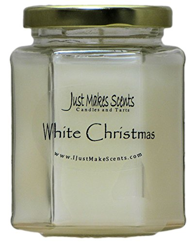 Soy Blend Jar Candle - Just Makes Scents White Christmas Scented Blended Soy Candle | Pine, Fir, Cedar & Eucalyptus Fragrance Blend | Hand Poured in USA (8 fl oz)
