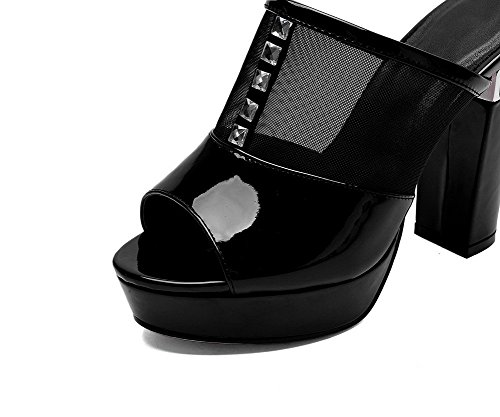 AllhqFashion Women's Patent Leather Solid Pull On Open Toe High Heels Slippers Black BcantJg