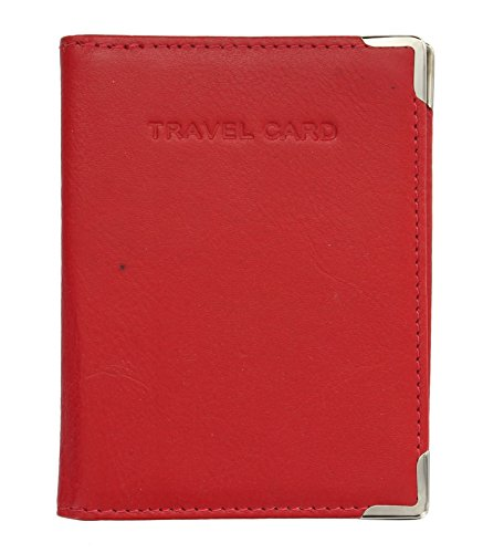 TC5 Corner Visconti Card Protectors Holder Travel Red Metal with Leather Oyster Pass Chocolate OOvfaw