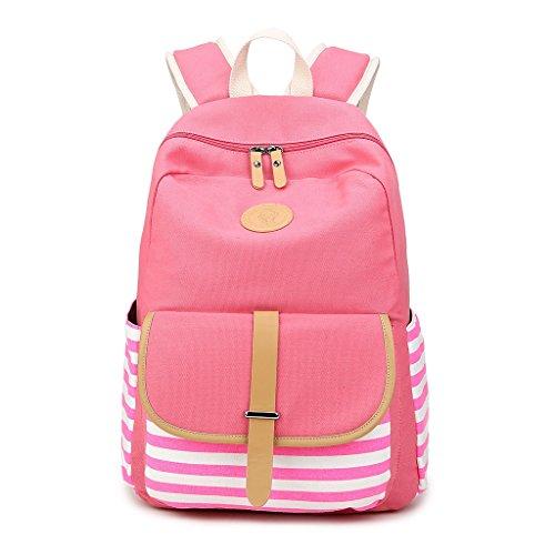 Bag Kofun Red Canvas Bookbags Students Striped Shoulder Bag Girls Backpack Pink Women Travel Rucksack Travel OTTqzIxr