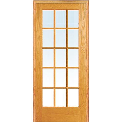 y ZA19956L Unfinished Pine Wood 15 Lite True Divided Clear Glass, Left Hand Prehung Interior Door, 30