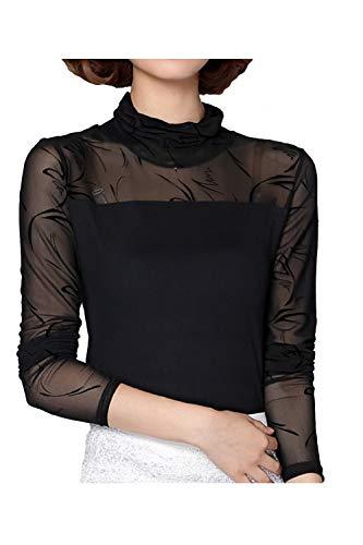 Imprim Femmes Base Jumper T Top 396 Maille Shirt Roul Col Floral De De vqO8XFq