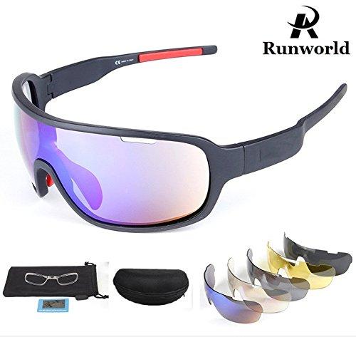 Runworld Sports Sunglasses for Men Women with 5 Interchangeable Lenses Outdoor Sport MTB Cycling Running Driving Baseball Glasses Eyewear UV Protection ()