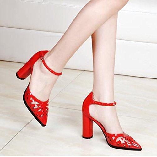 High größe Sommer Rote MUMA Pumps Einzelne Damenschuhe Schuhe Damenschuhe UK6 Tipps Dicken CN39 Neue Sandalen Absätzen Frühjahr Hohle Pendler Heels Baotou EU39 z8xwU8S