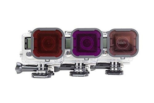 PolarPro Aqua Filter 3-Pack: Red Filter, Magenta, Snorkel Filter-For GoPro Hero4 -