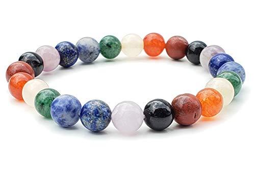 "Bliss Creation Brings Unisex Gemstone Bracelets 7"",Hand-Knotted 8mm Gemstone Round Beads! (Seven Chakra)"