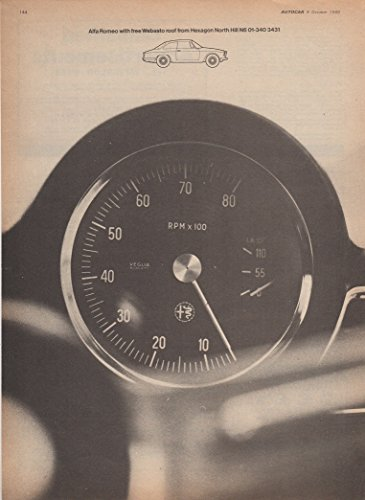 (1969 ALFA-ROMEO GIULIA SPRINT GT VELOCE Coupe with WEBASTO Roof VINTAGE NON-COLOR AD - BRITISH - UK - NICE ORIGINAL !!)