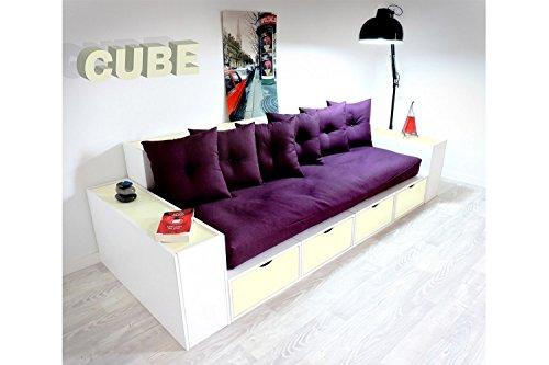 ABC MEUBLES - Boxensofa, mit Schubladen - CANAPCUBLB - Ivoire