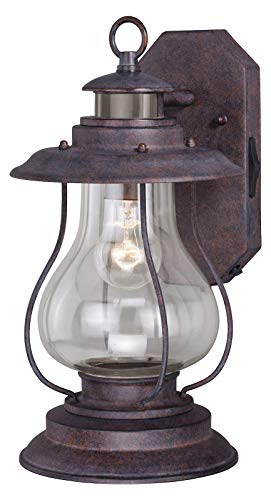 Weathered Patina Dockside Single Light 16 inches Tall Photocell and Motion Sensor Outdoor Wall Sconce with Clear Glass Shade