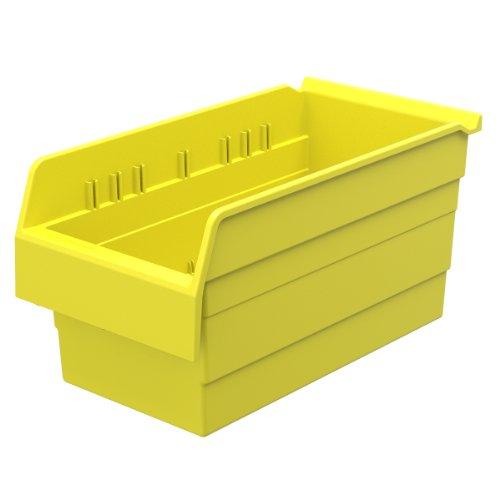 Akro-Mils 30886 ShelfMax 8 Plastic Nesting Shelf Bin Box, 16-Inch x 8-Inch x 8-Inch, Yellow, 8-Pack by Akro-Mils