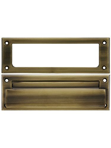 Brass Letter Slot (Solid Brass Letter Size Mail Slot With Open Back Plate in Antique Brass)