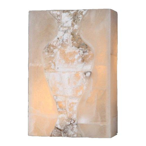 Worldwide Lighting Pompeii Collection 1 Light Flemish Brass Finish Natural Quartz Stone Wall Sconce 8