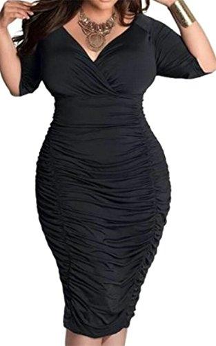 Neck Women Jaycargogo 3 Black Dress V Sexy 4 Pencil Slim Sleeve 8dfZUdr