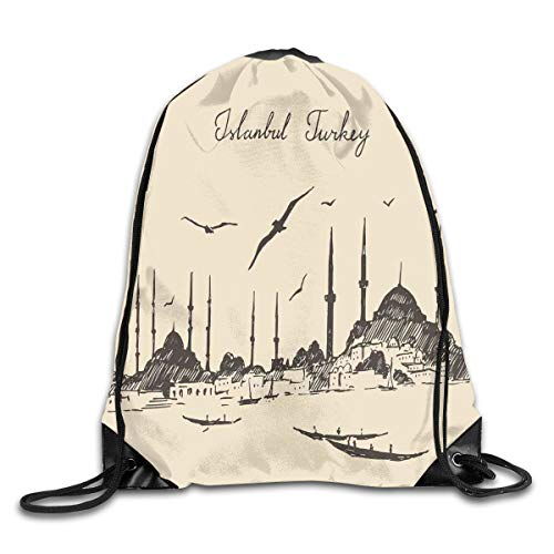 Drawstring Backpacks Bags,Sketch Of Retro Istanbul Skyline With Gulls By Bosphorus Ottoman Heritage,5 Liter Capacity,Adjustable