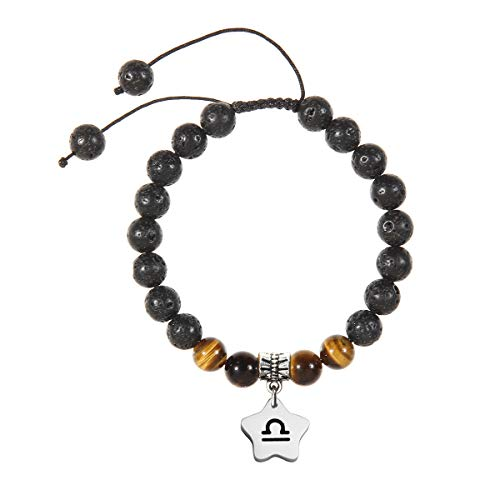 - Meibai Handmade 8mm Lava Rock Tiger Eye Natural Stone Beads Bracelet with Constellation Zodiac Sign Charm Adjustable Size (Libra-Star)