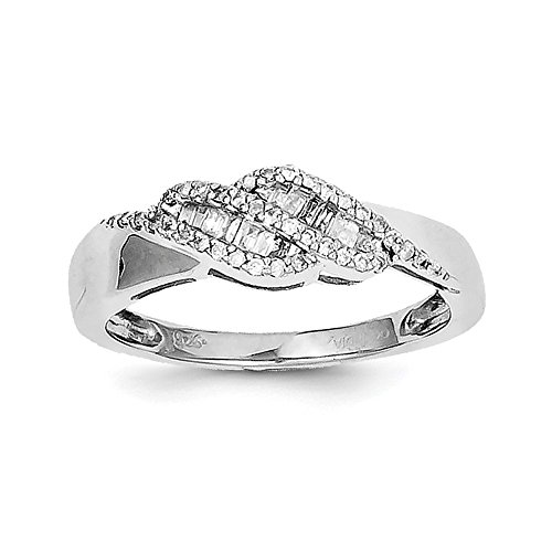 Size 8 Solid 925 Sterling Silver 0.21ct Diamond Baguette Swirl Ring (2mm) Baguette Diamond Swirl Ring