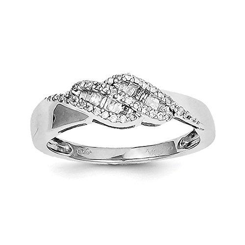 Sterling Silver 0.21ct Diamond Baguette Swirl Ring Baguette Diamond Swirl Ring