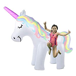 THE ORIGINAL UNICORN SPRINKLER Toy – Giant Inflatable Unicorn Sprinkler for Kids Adults – Great Outdoor Birthday Party…