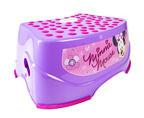 Ginsey Children's Disney Character Minnie Mouse Step N Glow Step Stool - Durable Construction - Non-Slip Surface and Feet - Lightweight - 14