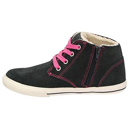 Jane Klain 462118 Mädchen Leder Winter Sneaker High-Top Teddyfutter Schuhe Dunkelgrau Pink Grau/Pink