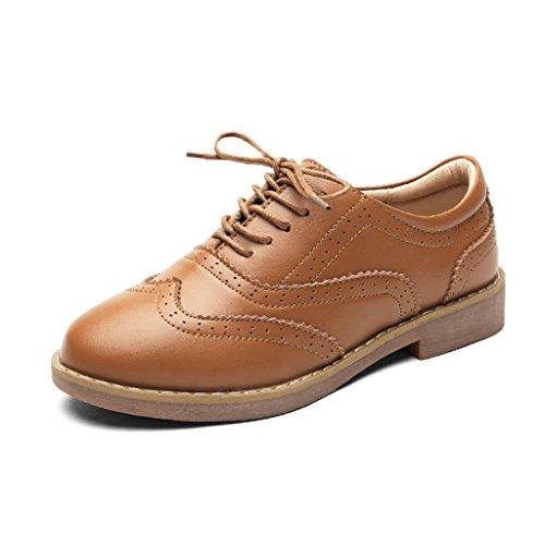 HWF Zapatos para mujer Zapatos de mujer de cuero de estilo británico de primavera Zapatos de mujer solteros de universidad de cuero ( Color : Negro , Tamaño : 37 ) Marrón
