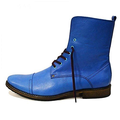 PeppeShoes Modello Mare - Handmade Italiano da Uomo in Pelle Blu Stivali Alti - Vacchetta Pelle Morbido - Allacciare