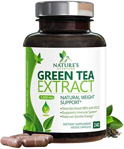 Green Tea Extract 98% Standardized Egcg for Healthy Weight Support 1000mg - Supports Healthy Heart, Metabolism & Energy with Polyphenols - Gentle Caffeine, Made in USA - 240 Capsules 1