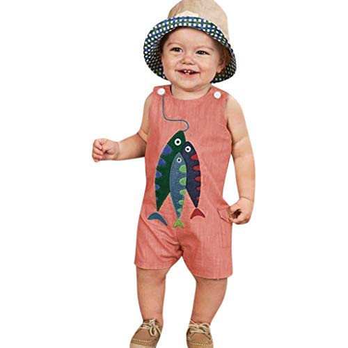 Tronet Onesies Baby boy Sleeveless Toddler Baby Boys&Girls Sleeveless Cartoon Fish Print Romper Jumpsuit Pink]()