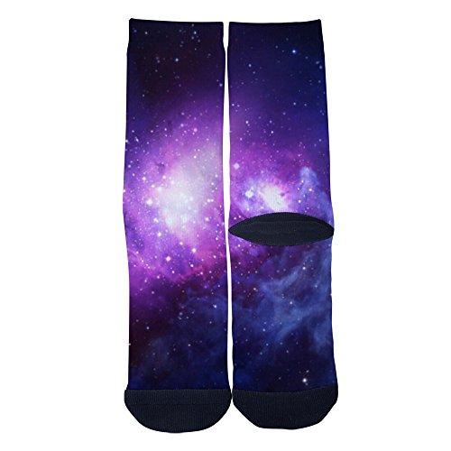 Purple Starry Sky socks Cool Men and Women Comfortable Cotton Casual Socks Black