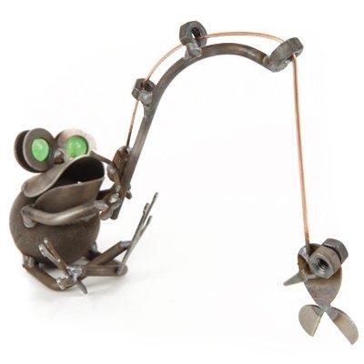Happy Frog Fishing Sculpture Yardbirds by Richard Kolb Cat Fishing Sculpture