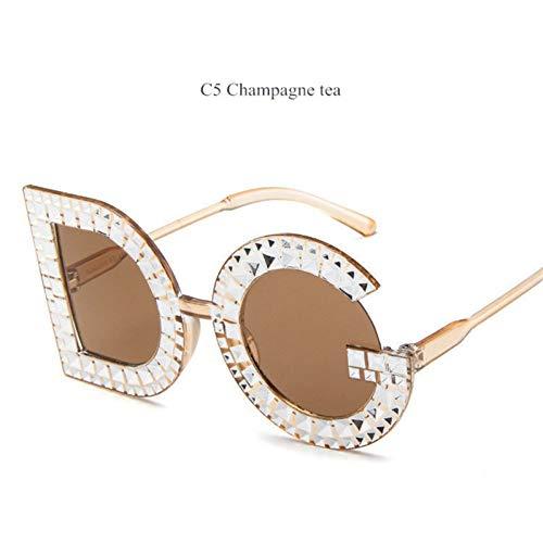 Soleil De nbsp;de Mme C5 Ysfu Diamant Rondes nbsp;soleil Lunettes Crystal Lunettes Mode Femmes UXqZqAY