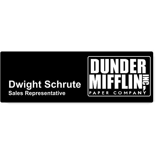 Dunder Mifflin Name Tags Halloween Name Tags, Custom The Office Name Tags (Black)]()