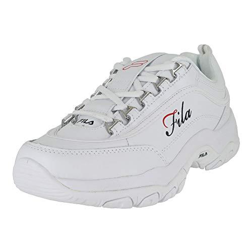 Fila White Shoes - Fila Women's Strada-G White Navy Red Sneakers Shoes Sz: 9