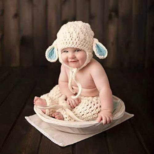 b1b9d16d7 Amazon.com: Crochet Baby Lamb Bonnet Beanie Hat Pants Diaper Cover ...