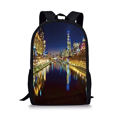 School Bags City,Looking Down the Yarra River on a Beautiful Night in Melbourne Water Reflection,Indigo Yellow for Boys&Girls Mens Sport Daypack