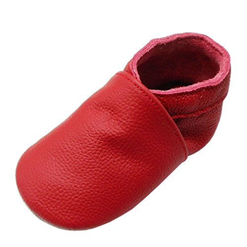 Yang Baby Boys Girls Shoes Crawling Slipper Toddler Infant Soft Leather First Walking Moccs(Red,12-18 Months)