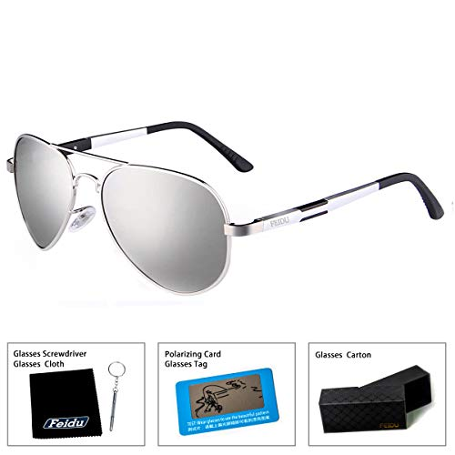 33290f1fd75e ... FEIDU Mens Polarized Aviator Sunglasses Metal Frame Unisex Sun Glasses  FD9001 (Silver/Silver, ...